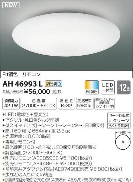 [マラソン中エントリーでポイント10倍]コイズミ照明 AH46993L シーリングライト リモコン付 LED
