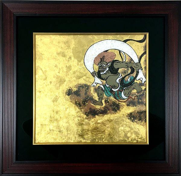 ジュエリー絵画® ジャポニズム 俵屋宗達 「風神 FU1」 正方形 XSサイズ 10.16×10.16cm インテリア壁飾り 新築 リフォーム お祝い プレゼント 記念品 額入りハンドメイド 宝石で作った絵画 建材屋