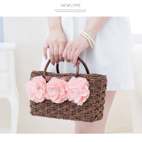 Original flower bag flower decoration holdings drawstring purse storing fashion off-white dark brown F Lady's dream prospects 0717