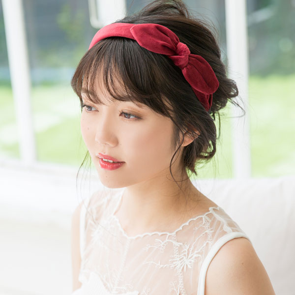 The headband color variations ribbon cute black navy gray red green pink  beige yellow F Lady's dream prospects