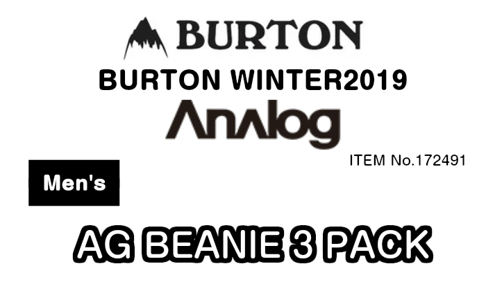 a74e1610774 Three pieces of BURTON Burton Anlog analog AG BEANIE 3 PACK 172491 beanies.  Set classical music fittingKnitCap men WINTER 2019 model regular article