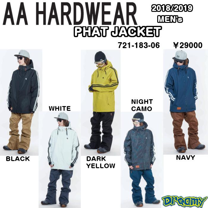 AA 2018-2019 PHAT JACKET パスジャケット WEAR ウェア JACKET ジャケットPT パンツ 721-183-06 SNOWBOARD スノ-ボ-ド  2019 正規品
