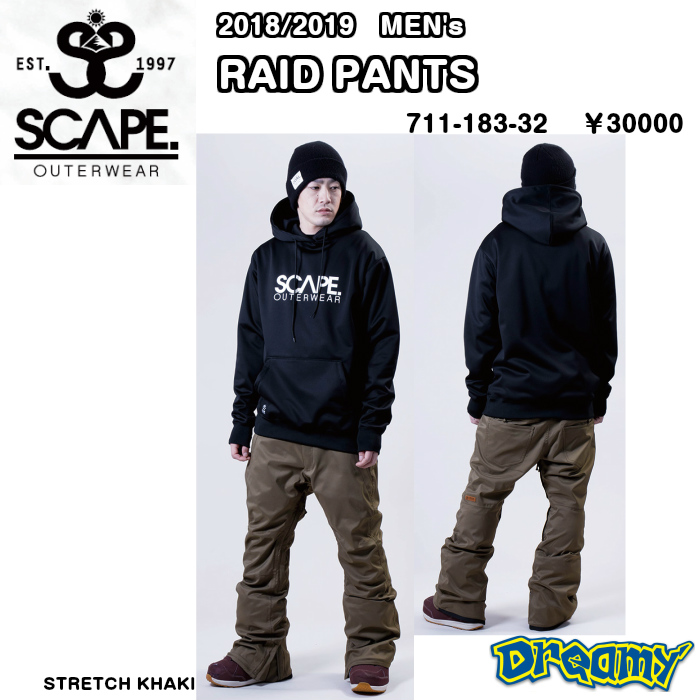 SCAPE 2018-2019 RAID PANTS エスケ-プ レイドパンツ WEAR ウェア JACKET PANTS パンツ SLIMFIT MEN's 711-183-32 2019 正規品