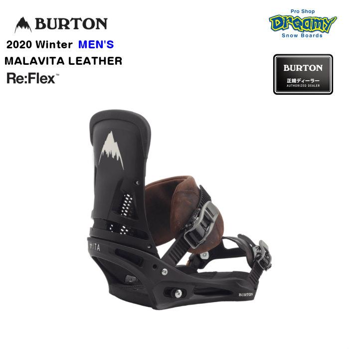 BURTON MALAVITA LEATHER Re:Flex メンズ ミディアムフレックス DialFLAD レザーリアクトストラップ バインディング スノーボード Winter 2020モデル 正規品