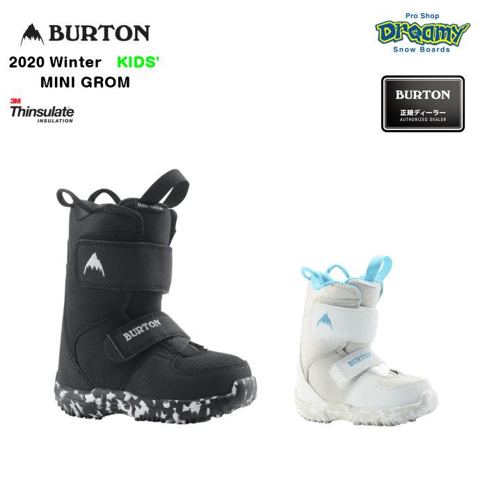 BURTON MINI GROM 106451 キッズ ベルクロストラップ 3M Thinsulate DynoLITE Room-To-Growフットベッド スノーブーツ スノーボード Winter 2020モデル 正規品