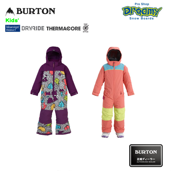 BURTON バートン Toddler Kids' Illusion One Piece 115731 スノーウェア Room-To-Growシステム DRYRIDE PFCフリー撥水加工 Thermacore キッズ 2019-2020 正規品