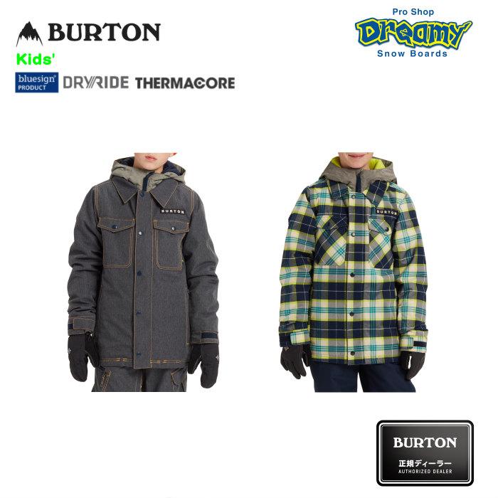 BURTON バートン Kids' Uproar Jacket 115811 スノージャケット Room-To-Growシステム DRYRIDE PFCフリー撥水加工 Thermacore キッズ 2019-2020 正規品