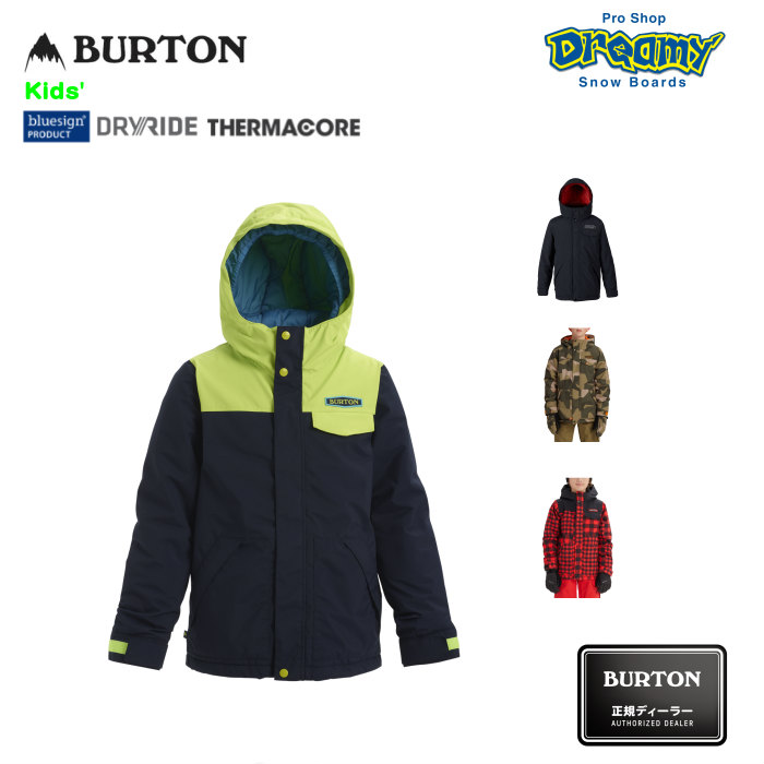 BURTON バートン Kids' Dugout Jacket 146140 スノージャケット Room-To-Grow DRYRIDE PFCフリー撥水加工 Thermacore グローブループ キッズ 2019-2020 正規品