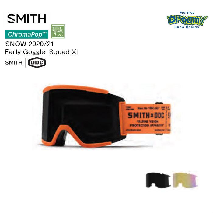 20-21 SMITH スミス Squad XL 010270005 アーリーゴーグル ASIAフィット ラージフィット 平面レンズ クロマポップ レンズ2枚付属 スノーゴーグル 正規品