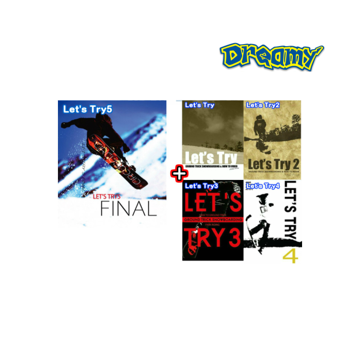 【Let's Try5】 レッツトライ5 FINAL Let's Tryシリーズ コンプリートセット 5本セット グラトリ ハウツーDVD 最新グラトリ スノーボード SPREAD 尾川慎二