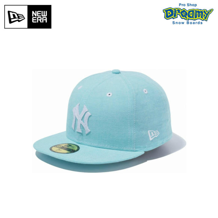 Cena hurtowa trampki 100% autentyczny NEW ERA new gills 59FIFTY Chambray chambray New York Yankees mint blue X  white 11404771 cap hat 2017 model regular article