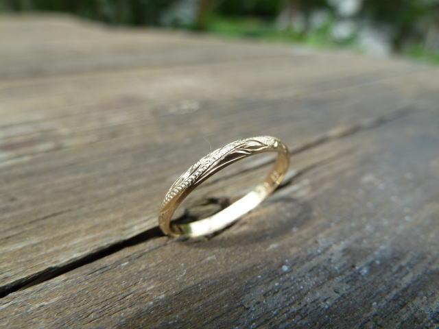 【kapua ハワイアンジュエリー 】hr-020 K14ゴールド2mmスクロールリング gold 金 レディース メンズ ピンキーリング シルバー925 ハワジュ 指輪 波 プルメリア 誕生日 プレゼント 記念日 贈り物 スクロール