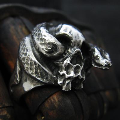 【KAGEMARU DESIGNS カゲマルデザイン】スカルシリーズ Skull & Snake RING スカル&スネイク ヘビ 髑髏 指輪 メンズ silver925 シルバー925 シルバーアクセ