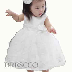 ホワイトウェディングシフォンローズドレス
