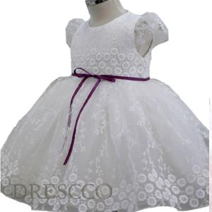 フラワー刺繍パープルリボンパフスリープドレス