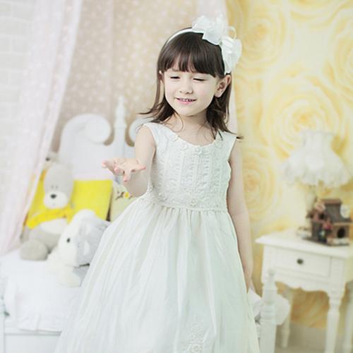 キラキラノースリーブドレス(アイボリー)(5号~13号)子供ドレス 子供用ドレス こどもドレス ベビードレス 結婚式 発表会 コンクール