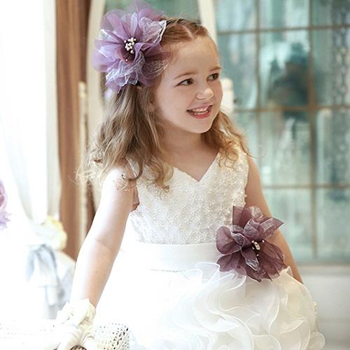 ホイットニーバイオレットコサージュボリュームドレス(S号~11号)子供ドレス 子供用ドレス こどもドレス ベビードレス 結婚式 発表会 コンクール