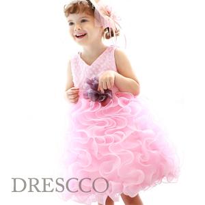 ホイットニーバイオレットコサージュピンクボリュームドレス(1号~13号)子供ドレス 子供用ドレス こどもドレス ベビードレス 結婚式 発表会 コンクール