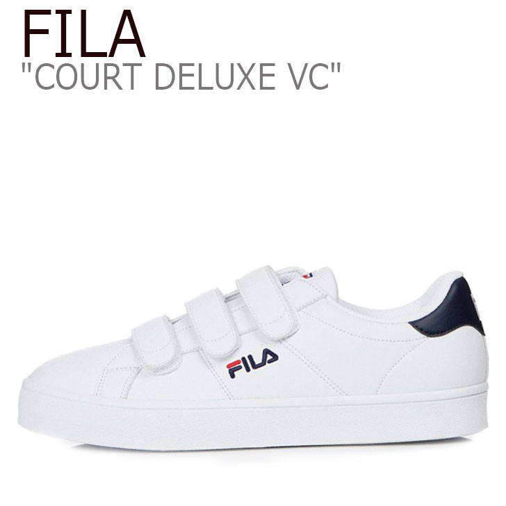 FILA COURT DELUXE VC White Navy フィラ コートデラックス ベルクロ F1XKZ0174 FS1SIA1012X ホワイト ネイビー シューズ