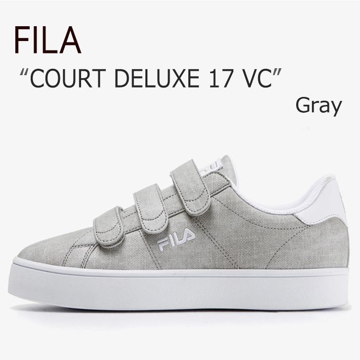 FILA COURT DELUXE 17/Gray【フィラ】【コートデラックス】【ベルクロ】【F1XKZ0303】 シューズ