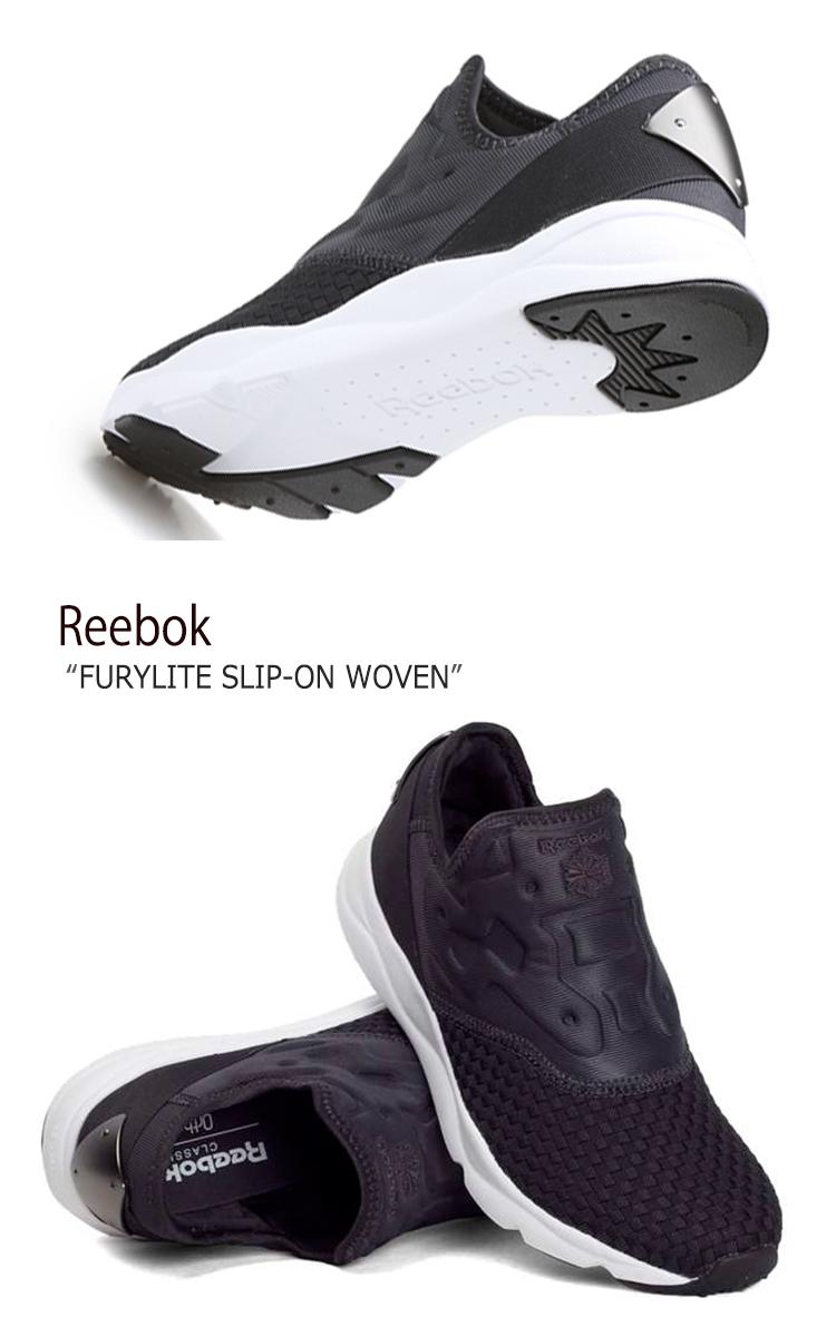 リーボック スニーカー Reebok メンズ レディース FURYLITE SLIP-ON WOVEN フューリーライトスリッポンウーヴン Black White ブラック BS5874 シューズ