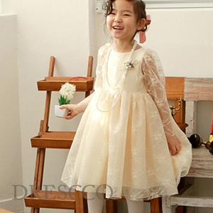 フェイトシースルースリーブ刺繍アイボリードレス(70~140)子供ドレス キッズドレス ベビードレス 結婚式 発表会 コンクール
