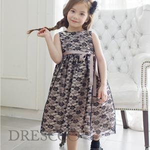 フローラブラック刺繍ドレス(70~140)子供ドレス キッズドレス ベビードレス 結婚式 発表会 コンクール