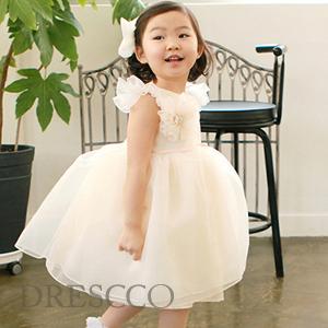 マナビスフリルスリーブドレス(70~140)子供ドレス キッズドレス ベビードレス 結婚式 発表会 コンクール