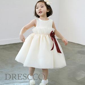 ペルセポーネレッドワインリボンアイボリードレス(70~140)子供ドレス キッズドレス ベビードレス 結婚式 発表会 コンクール