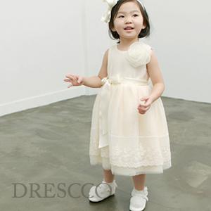 セレネフラワーレースアイボリードレス(70~140)子供ドレス キッズドレス ベビードレス 結婚式 発表会 コンクール