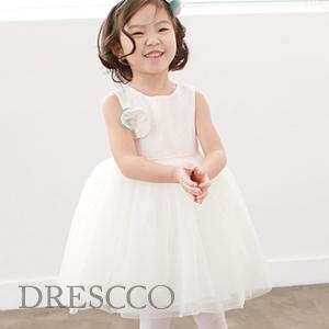 テティスフラワーコサージュツイードドレス(70~140)子供ドレス キッズドレス ベビードレス 結婚式 発表会 コンクール