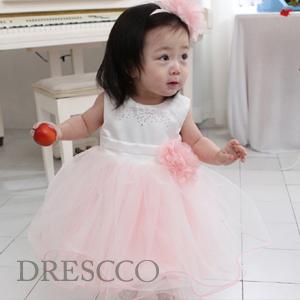 ホワイトベビーピンクキュービックドレス(70~130)