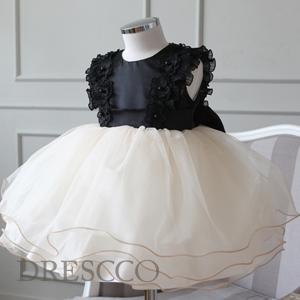 フリルショルダーブラックベージュドレス(70 80 90 100 110 120 130 )特別な日の思い出に 子供 ジュニア キッズ ベビーフォーマルドレス