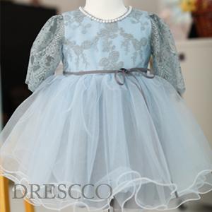グレーXブルー刺繍ドレス(70 80 90 100 110 120 130 )特別な日の思い出に 子供 ジュニア キッズ ベビーフォーマルドレス
