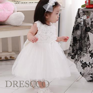 ホワイトシフォンローズドレス(70~130)