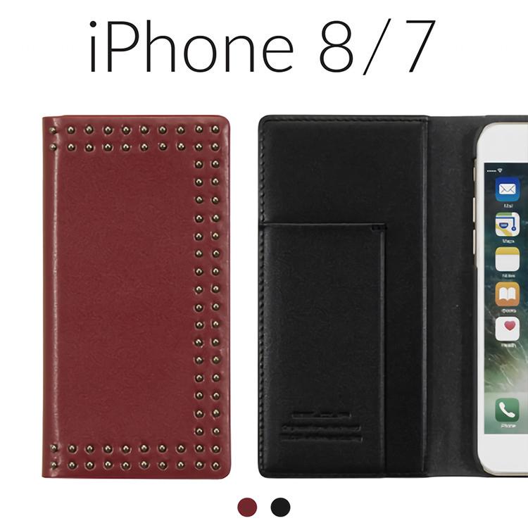 iPhone 8 ケース iPhone 7 カバー 手帳型 本革 Eblouir Dot Studs Diary エブルイ ドットスタッズダイアリー アイフォン8 アイフォン7 レザー 4.7インチ お取り寄せ