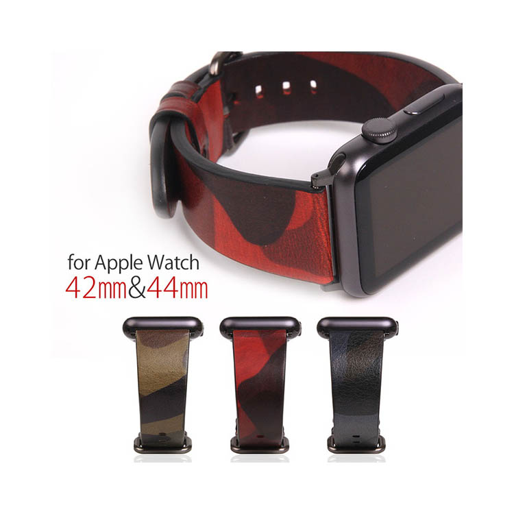 Apple Watch バンド 本革 アップルウォッチ Series 1/ 2/ 3 (42mm)、Series 4 (44mm)対応 SLG Design Italian Camo Leather (アップルウォッチバンド イタリアンカモレザー) カモフージュ柄 お取り寄せ