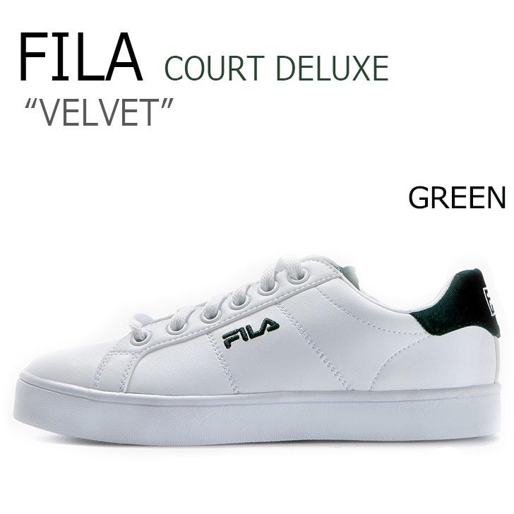 フィラ スニーカー FILA メンズ レディース コートデラックス ベルベット COURT DELUXE VELVET WHITE ホワイト GREEN グリーン FS1SIZ3120X シューズ