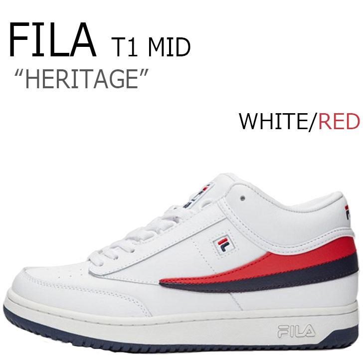 フィラ スニーカー FILA メンズ HERITAGE ヘリテージ T-1 MID ティーワンミッド WHITE ホワイト RED レッド F1XKY5921 シューズ