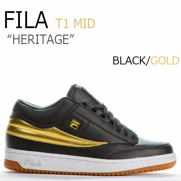 フィラ スニーカー FILA メンズ HERITAGE ヘリテージ T-1 MID ティーワンミッド BLACK ブラック GOLD ゴールド F1XKY5922 シューズ