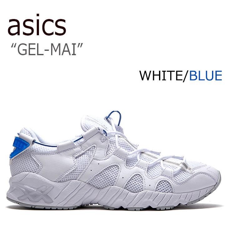 アシックスタイガー スニーカー asics tiger メンズ レディース GEL-MAI ゲルマイ 白い ホワイト 青 ブルー H813N-0101 シューズ