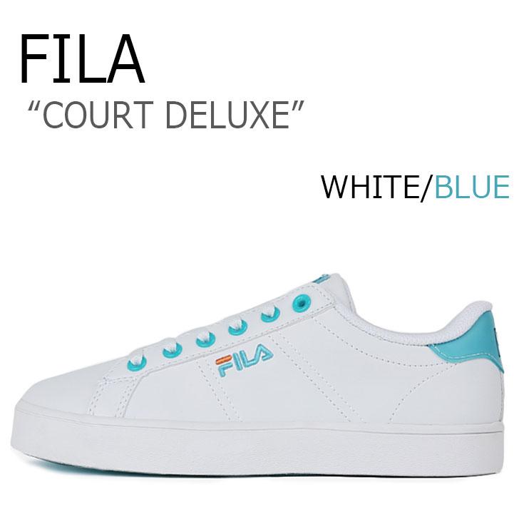 フィラ スニーカー FILA レディース COURT DELUXE コートデラックス WHITE BLUE ホワイト ブルー FS1SIA1074X シューズ
