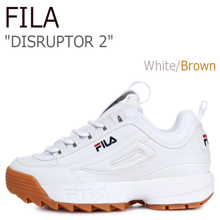 フィラ スニーカー FILA メンズ レディース DISRUPTOR 2 ディスラプター2 White Brown ホワイト ブラウン FS1HTA1072X シューズ
