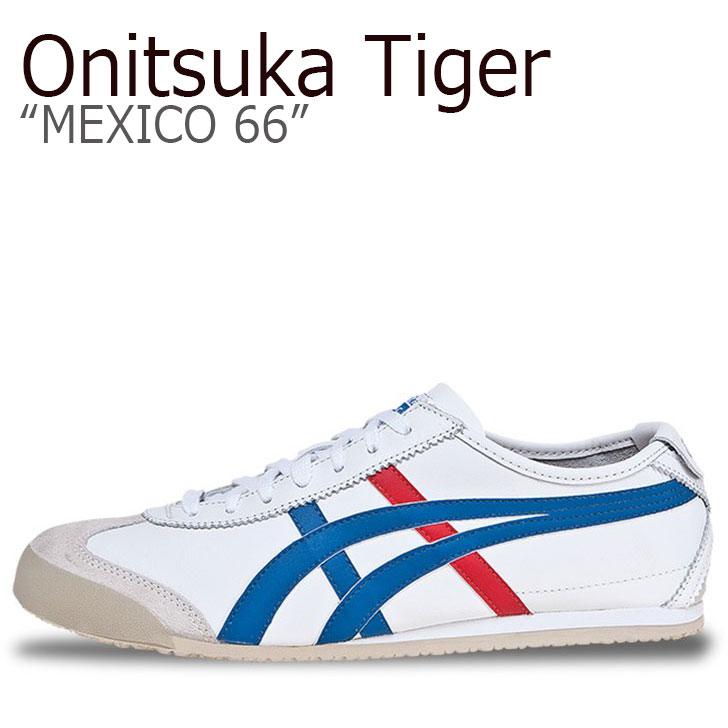 オニツカタイガー スニーカー Onitsuka Tiger メンズ レディース メキシコ66 MEXICO 66 WHITE ホワイト BLUE ブルー RED レッド DL408-0146 シューズ