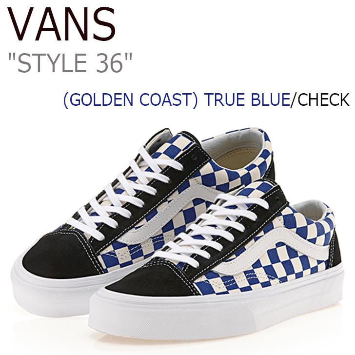 バンズ スタイル36 スニーカー VANS メンズ レディース STYLE 36 (GOLDEN COAST) TRUE BLUE CHECK ゴールデンコースト ブルー チェック VN-0XI0DI9 シューズ