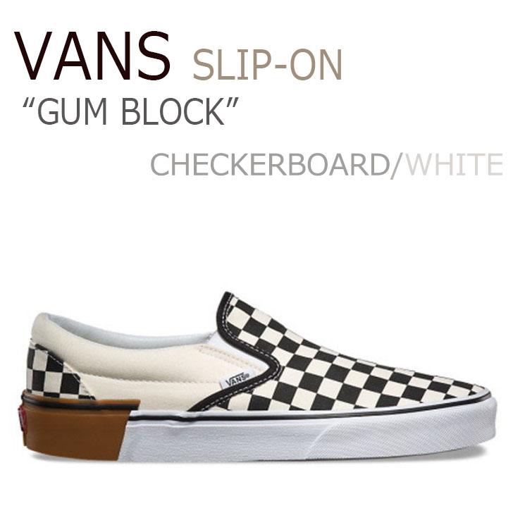 バンズ スリッポン スニーカー VANS メンズ レディース SLIP-ON GUM BLOCK ガム ブロック CHECKERBOARD チェッカーボード WHITE ホワイト VN0A38F7U58 シューズ