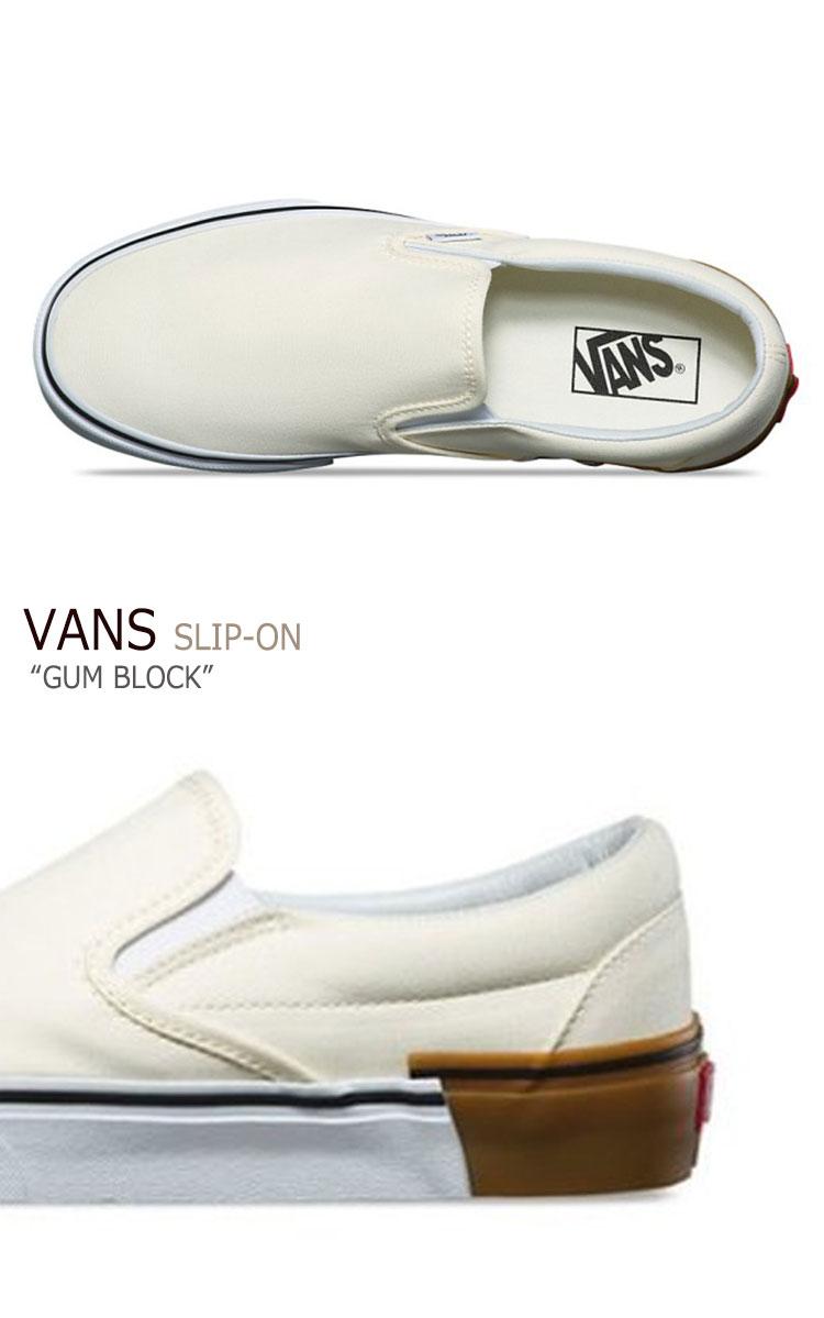 バンズ スリッポン スニーカー VANS メンズ レディース SLIP-ON  GUM BLOCK ガム ブロック CREAM WHITE クリーム ホワイト VN0A38F7U59 シューズ