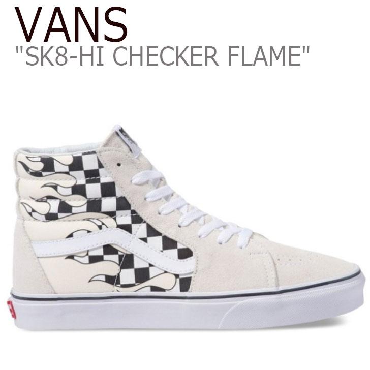 バンズ スケートハイ スニーカー メンズ レディース VANS SK8-HI CHECKER FLAME チェッカーフレイム WHITE ホワイト VN0A38GERX7 シューズ