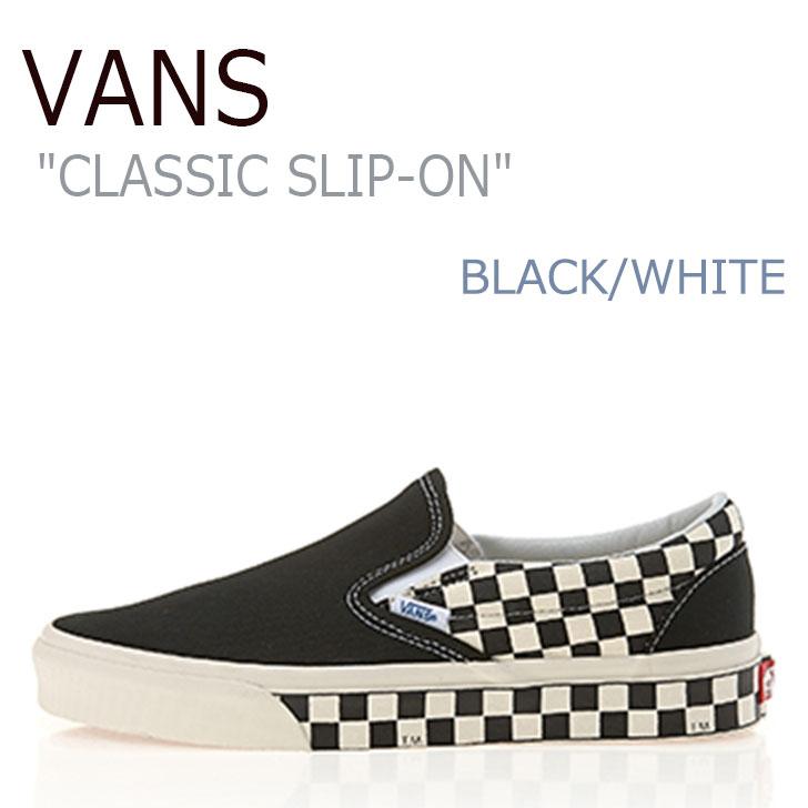 バンズ スリッポン スニーカー VANS メンズ レディース CLASSIC SLIP-ON SIDEWALL CHECK BLACK WHITE サイドウォール チェック ブラック ホワイト VN0A38F7RA9 シューズ