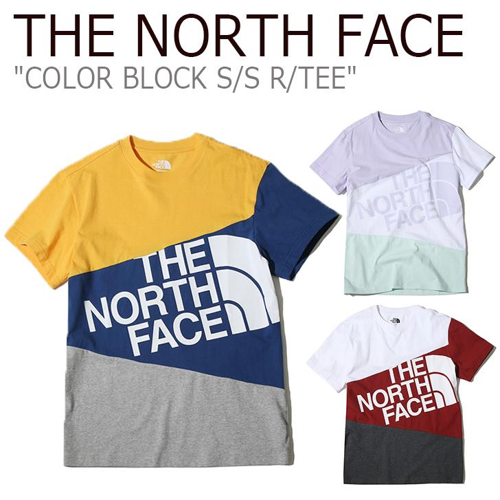 ノースフェイス Tシャツ THE NORTH FACE メンズ レディース COLOR BLOCK S/S R/TEE カラー ブロック ショートスリーブ ラウンドT LILAC RED YELLOW ライラック レッド イエロー NT7UK18J/K/L ウェア 【中古】未使用品
